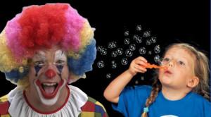 Bańki mydlane i klaun